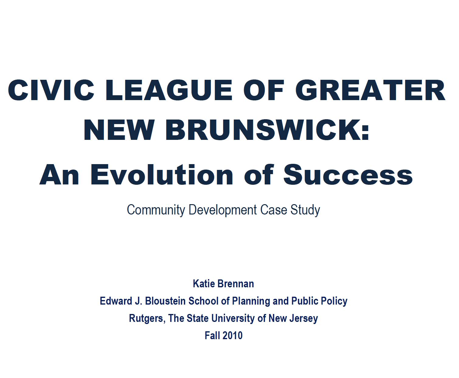 civic league New Brunswick Rutgers Bloustein engagement Voorhees